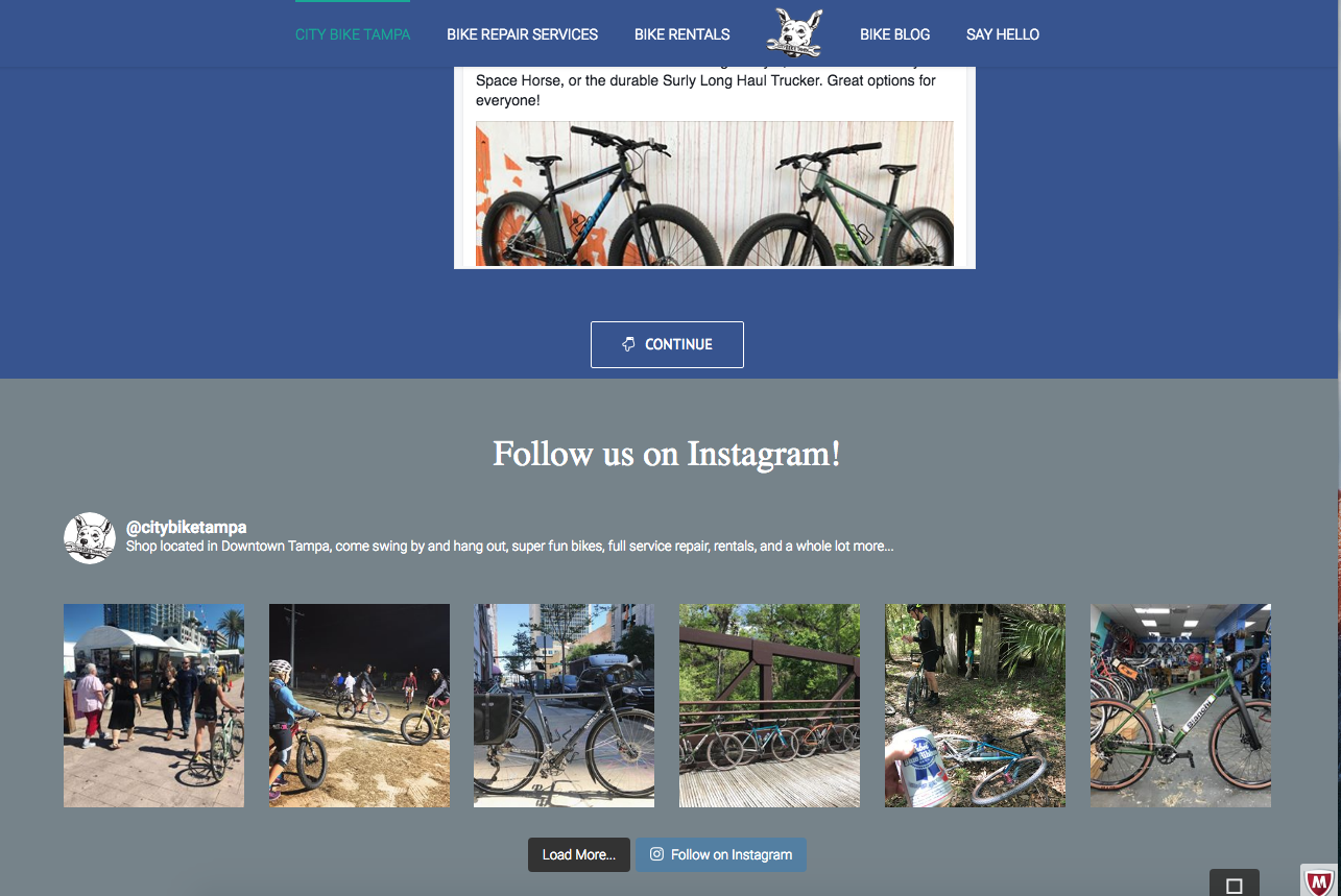 Screenshot of social media posts, City Bike Tampa