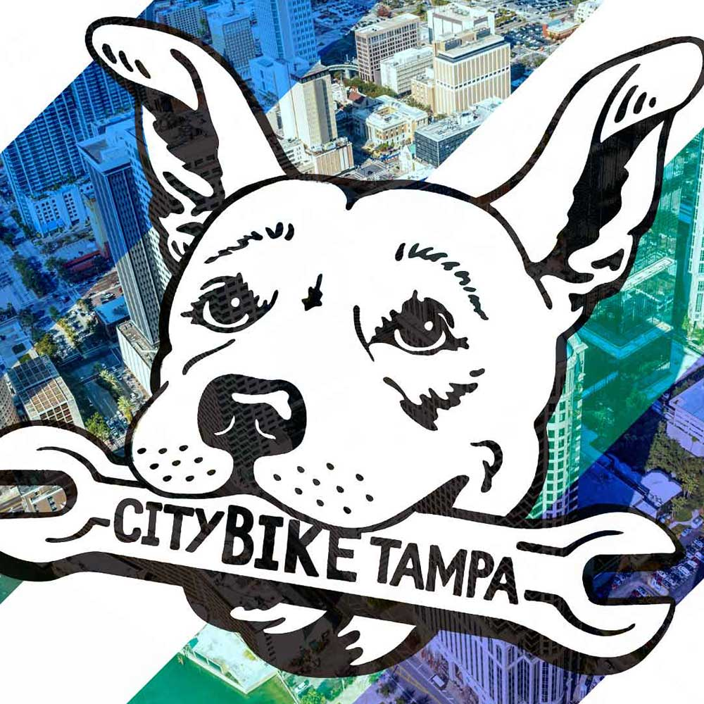 City Bike logo Macey over the city of Tampa