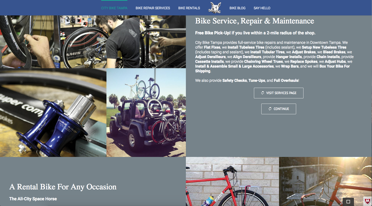 screenshot of City Bike Tampa new website