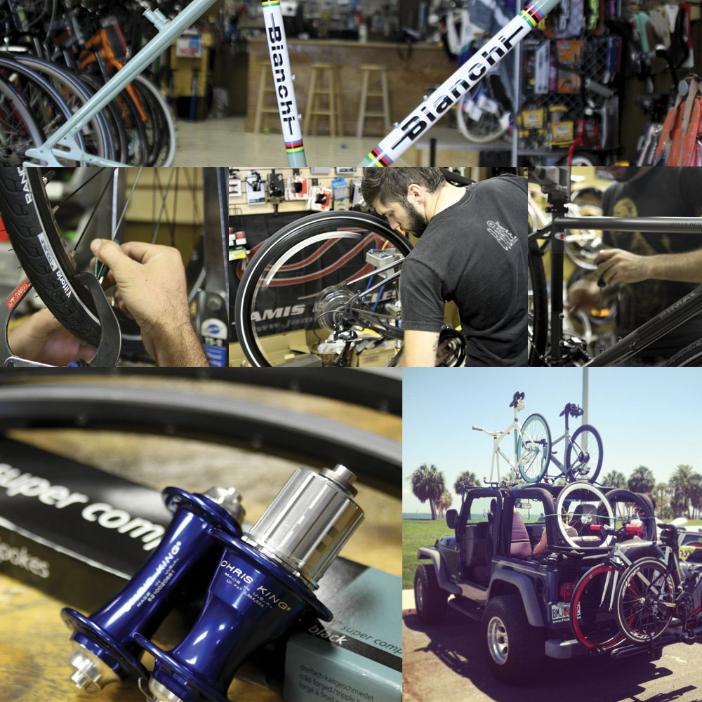 pictures of bike repairs and services available at city bike tampa in downtown tampa